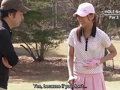 자막된 무수정된 야외 일본 골프 형벌 게임 hd