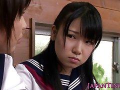 수 탉을 공유 하는 작은 cfnm 일본 여 학생 사랑