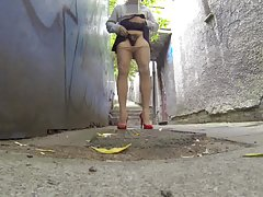 짧은 치마 upskirt 공공 골목에서 엉덩이 다리를 깜박이