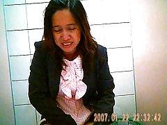 숨겨진 카메라에 태국 사무실 화장실